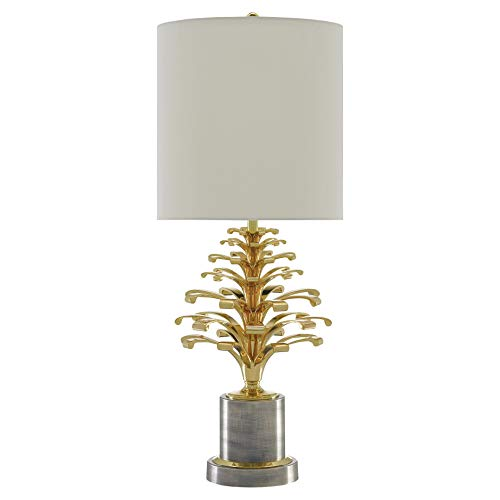 Kathy Kuo Home Quinlan Modern Regency Gold Grey Pinecone Trophy Table Lamp