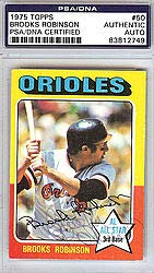 Brooks Robinson Signed 1975 Topps Trading Card #50 Baltimore Orioles - PSA/DNA Authentication - Autographed MLB Baseball Cards