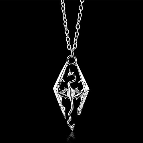 2019 New Game Dragon The Elder Scrolls V Pendant Necklace Skyrim Choker Men Jewelry Necklace Chain -30 Diamond Scroll Heart Pendant