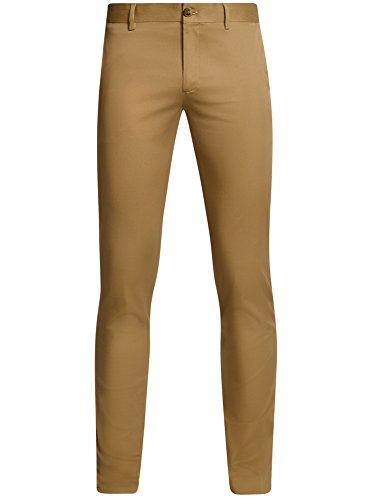 oodji Ultra Hombre Pantalones Chinos de Algodón Beige (3300N)
