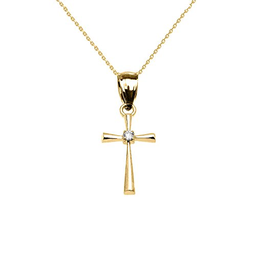 - Religious Jewelry by FDJ 14k Yellow Gold Solitaire Diamond Cross Delicate Pendant Necklace (Extra Small), 20