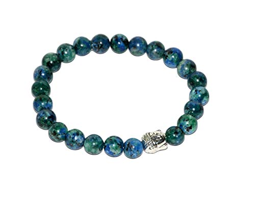 Aatm Natual Healing Gemstone Azurite Buddha Beaded Bracelet for Healing and Meditation (Beads Size - 7-8 mm)