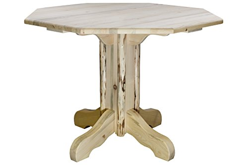 - Montana Woodworks MWPTV-OCTAGONAL Montana Collection Center Pedestal Table with Octagonal Table Top, Clear Lacquer Finish