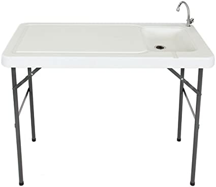 Fish Cleaning Table With Sink And Faucet Folding Legs Portable Outdoor Camping