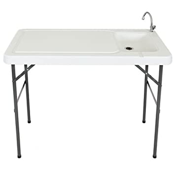 Best Choice Products Portable Cutting Cleaning Table for Fish, Game Hunting w Sink, Faucet – Gray