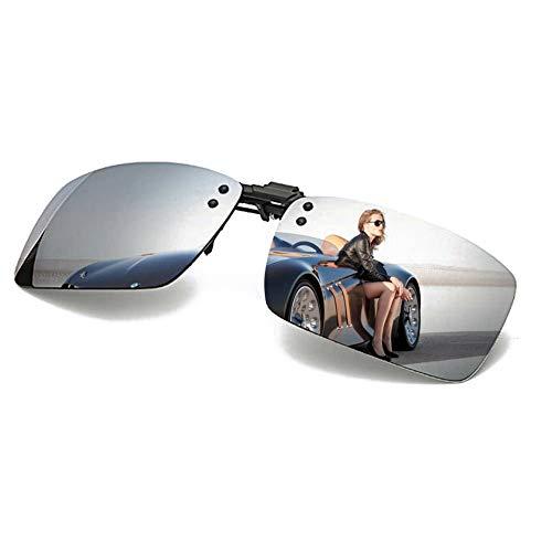 Polarized Clip-on Sunglasses with Flip Up Function Anti-Glare UV 400 Driving Glasses Clip-on for Prescription Glasses (Silver)