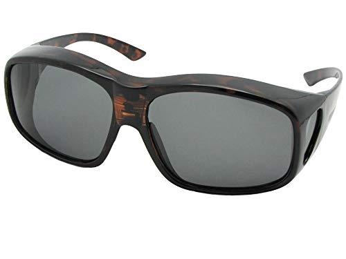 Largest Polarized Fit Over Sunglasses Worn Over Prescription Glasses Style F19 (Shiny Tortoise-Medium Dark Gray Lens, 2 3/4)