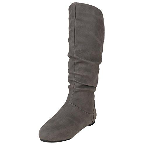 Stiefelparadies Warm Gefütterte Stiefel Damen Winterstiefel Wildleder-Optik Boots Schnallen Profilsohle Winter Schuhe Flandell Grau
