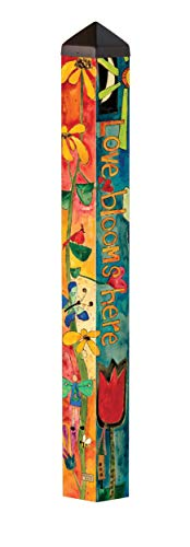 Studio M Love Garden Art Pole Bold Floral Outdoor Decorative Garden Post, Made in USA, 40 Inches Tall