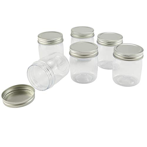 Plastic Mason Jars 8oz 6pc Perfect for DIY Projects Paints Vase Organizing Food Safe and More