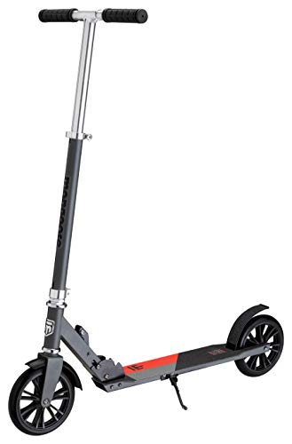 (Mongoose Trace 180 Foldable Kick Scooter, Featuring Quick-Release Adjustable Height Handlebars with 180mm Wheels, Grey/Red)