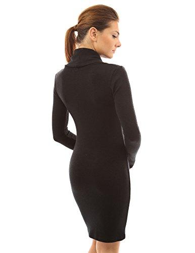 Women's Sleeve Knit Black Long PattyBoutik Cowl Neck Dress Cwaq1dU