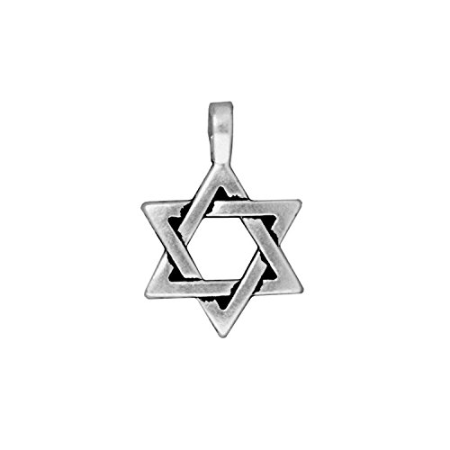 Pewter Star Charm - TierraCast Star of David, 17x25mm, Antiqued Fine Silver Plated Pewter, 3-Pack