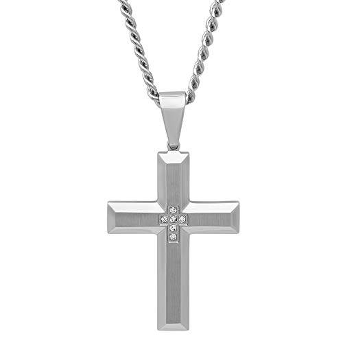 Jewelry Nation Men's Diamond Accent Stainless Steel Cross Pendant Necklace with Chain, 24