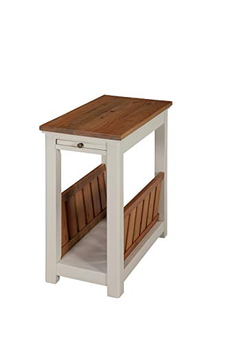 Price comparison product image Alaterre Furniture ASVA25IVW Savannah Chairside Magazine Pull-Out Shelf,  Ivory with Natural Wood Top End Table