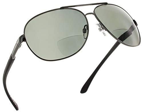 Fiore Aviator Polarized Bifocal Reading Sunglasses Readers for Men and Women [Gunmetal Black, 2.50]