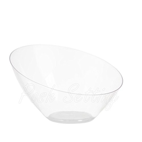Clear Small Candy Bowl for Weddings, Buffet, Offices, Disposable Hard Plastic Small Angled Bowls for Party's, Salads, Snacks and Fruit Bowl 5 Pack -