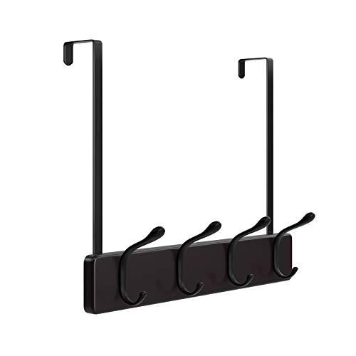 SONGMICS Over-The-Door Hook Rack, Wall-Mounted Coat Rack, Door Clothes Hanger with 4 Metal Hooks, for Living Room, Cloakroom, Bathroom, Dark Brown ULHR24BR