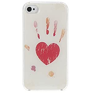 Love In Your Hands Pattern Epoxy Hard Case for iPhone 4