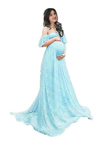 Women's Off Shoulder Ruffle Sleeve Lace Maternity Gown Plus Maxi Photography Dress (Light Blue, Large)