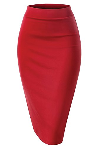 Women Elastic Waist Band Stretchy Fabric Pencil Skirt (Large, Banded_Red)
