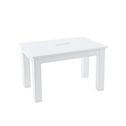 Max & Lily Natural Wood Kid and Toddler Bench with Hand Hole, White (Pottery Barn Bench Table)