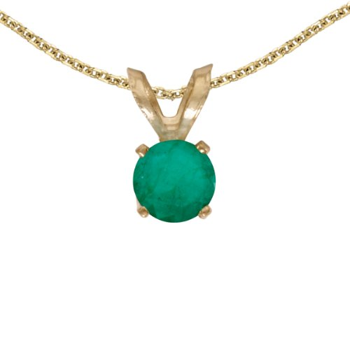 14k Yellow Gold Round Emerald Pendant with 18 Chain