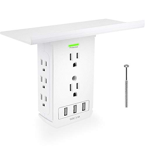 Socket Shelf Outlet-11 Port Surge Protector Wall Outlet,Extra-Large Shelf with 8 Electrical Outlet Extenders, 3 USB Ports,Removable Built-In Shelf UL Listed