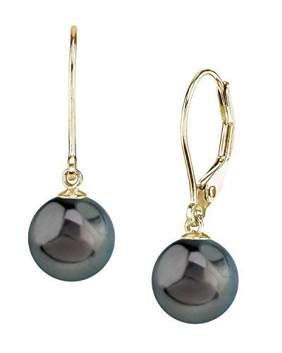 THE PEARL SOURCE 14K Gold 10-11mm Round Genuine Black Tahitian South Sea Cultured Pearl Leverback Earrings for Women