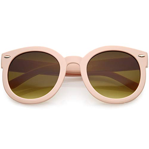 zeroUV - Round Retro Oversized Sunglasses for Women with Colored Mirror and Neutral Lens 53mm (Light Pink/Amber)
