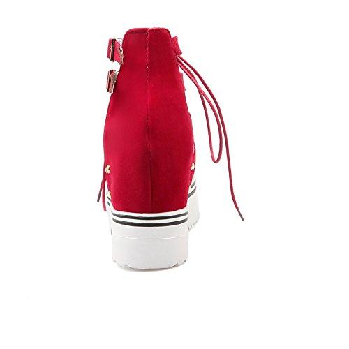 COOLCEPT Mujer Moda Cordones Sandalias Punta Abierta Correa de Tobillo Zapatos Rojo