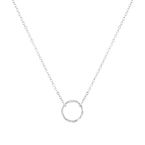 LOYATA Karma Open Circle Pendant Necklace, Silver Plated Chain Necklace Simple Minimalist Small Dainty Delicate Karma Necklace for Girls Women (Circle Silver)