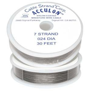 Acculon Tigertail Clear Beading Wire 7 Strand .024 30ft