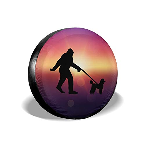 (A1LZ-TS3 Sports Fan Tire Covers Bigfoot Walking Poodle Dog Universal Spare Wheel Tire Cover Fit for Trailer,RV,SUV and Many Vehicle 16 Inch )