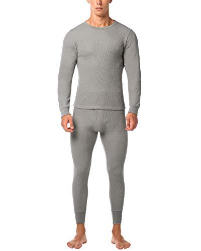 (LAPASA Men's Thermal Underwear Long John Set Waffle Knit Base Layer Top and Bottom M11 (XX-Large, Waffle Knit Grey))