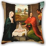 Alphadecor Cushion Cases 20 X 20 Inches / 50 By 50 Cm(two Sides) Nice Choice For Dining Room,couch,teens Girls,bf,shop,birthday Oil Painting Juan Correa De Vivar - Adoration Of The - Bee Diy Queen Costume