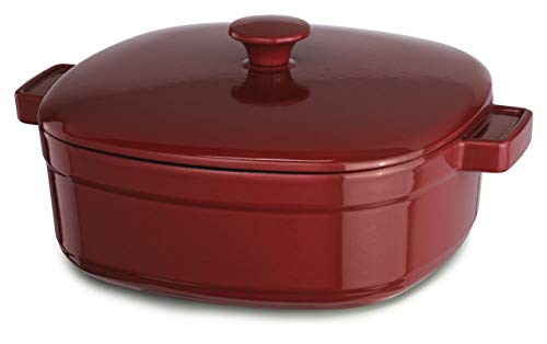 KitchenAid KCLI60CRER Streamline Cast Iron 6-Quart Casserole Cookware - Empire Red (Cast Iron Cobbler)