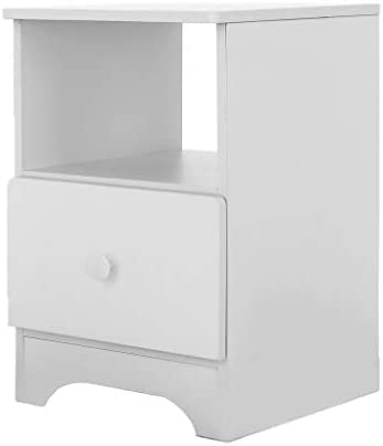 Lethez Wood Nightstand 2 Drawers Bedside Table Cabinet Bedroom Furniture Double Drawer Bedside Locker (30x32x45cm, White)