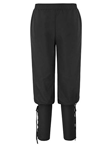 SCARLET DARKNESS Mens Renaissance Pants Medieval Pirate Costume Ankle Banded Trousers Black