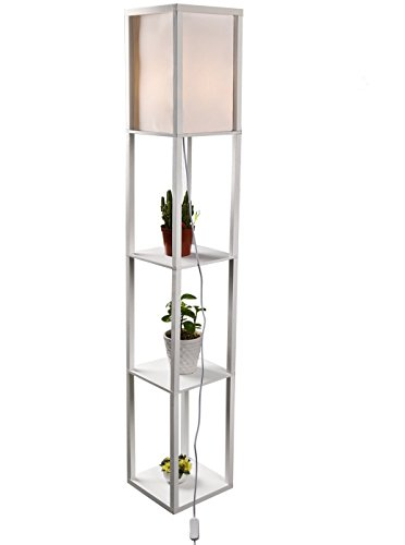 Shelf Floor Lamp 63 Inch - Linen Shade Wood Frame Compatible Light Fixtures with 2 Storage Shelves, Lighting Accessories for Living Room Bedrooms Home Office Décor ()
