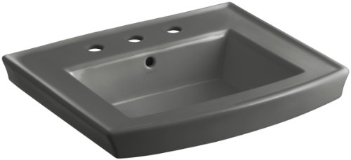 58 Thunder Grey Pedestal - KOHLER K-2358-8-58 Archer Pedestal Bathroom Sink Basin with 8