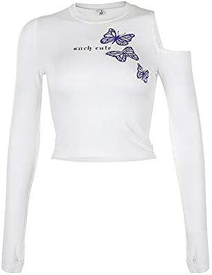 JINIUYX Streetwear de Las Mujeres Impresa Manga Larga Calle Marea Marca Camisa Apretada Camisa Bolero (Color : White, Size : M): Amazon.es: Hogar