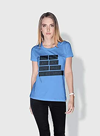 Creo Kiss Funny T-Shirts For Women - L, Blue