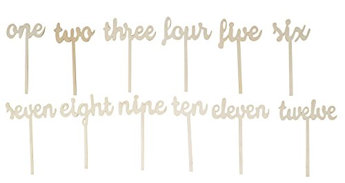 Wooden Table Numbers - 12-Pack Number Wood Sticks Table Decoration for Wedding, Party, Catering, One to Twelve, 9 x 6.89 x 1.57 Inches by Juvale