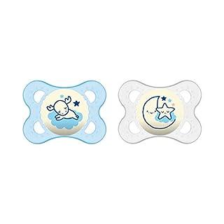 MAM - Lot de 2 Tétines - Garçon - Motif Vert et Bleu - Sans Bisphenol A