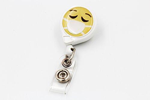 Key-Bak Mini-Bak Emoji Retractable Reel with 36-Inch Nylon Cord, Steel Belt Clip and Vinyl ID Strap (Emoji - Face with Surgical Mask, White)