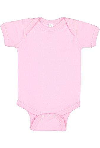 Rabbit Skins Infant 100% Cotton Jersey Lap Shoulder Short Sleeve Bodysuit (Pink, 12 Months)