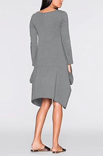 Lunghe Vestito Midi Maniche Bolla A Casual Vestiti Donne Irregolare Le Grey Hem fpU0Af