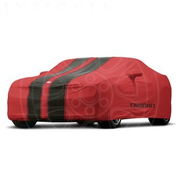 2010-2013 Chevrolet Camaro Outdoor Car Cover Red with Black Stripes and Camaro Logo GM# 92223303 Fits Convertibles