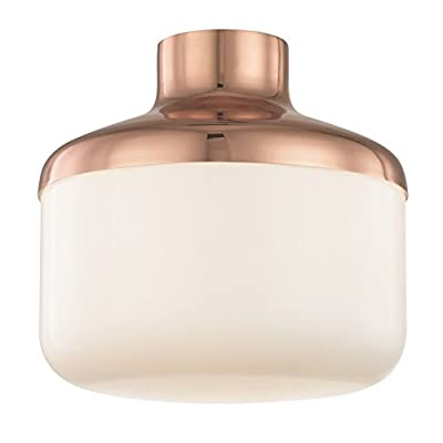 "Mitzi Livvy 12"" Wide Polished Copper Ceiling Light"